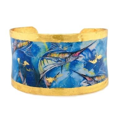Marlin Wide Corset Bracelet in Yellow Gold