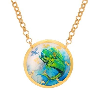 Mahi Mahi Disc Necklace in Yellow Gold