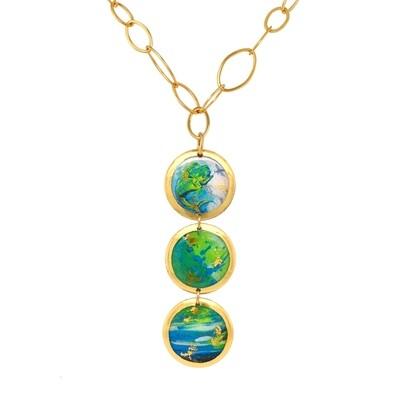 Mahi Mahi Abstract Three-Drop Necklace