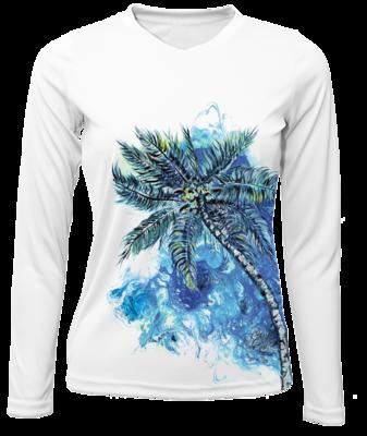 Blue Sway Palm Long Sleeved Sun Shirt