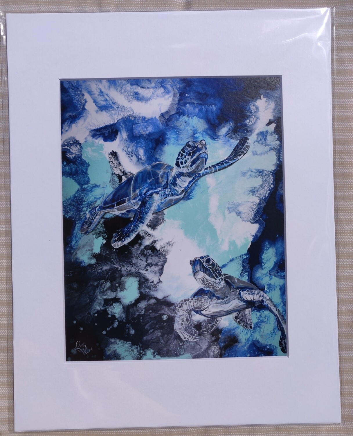 Two Turtles Matted Print