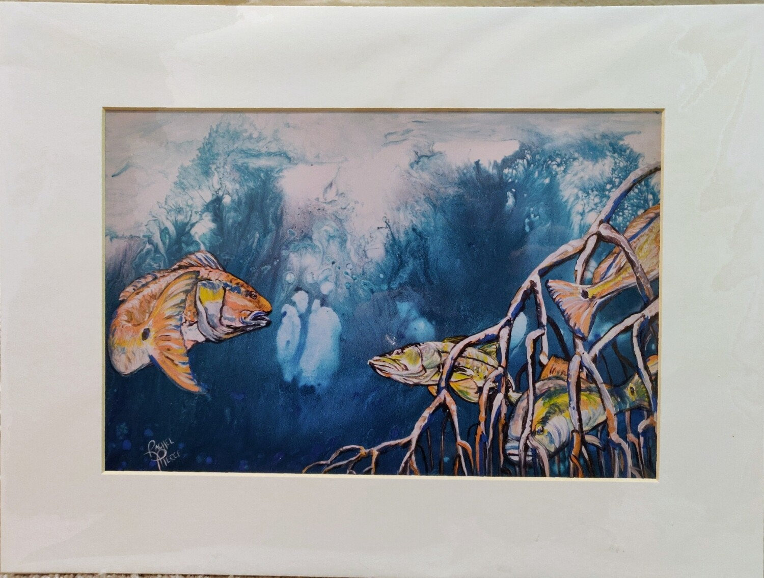 Redfish and Snook in Mangroves Matted Print
