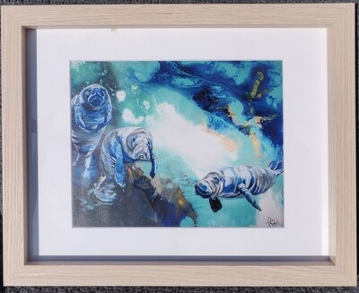 Three Manatees Framed Picture