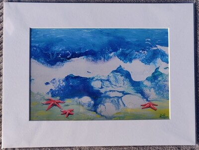 Starfish by the Shore Matted Print