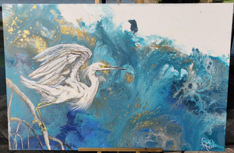Egret taking off at Ding