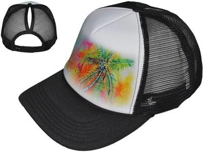Black Palm Tree Women's Trucker Hat