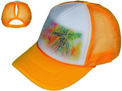 Orange Palm Tree Women's Trucker Hat
