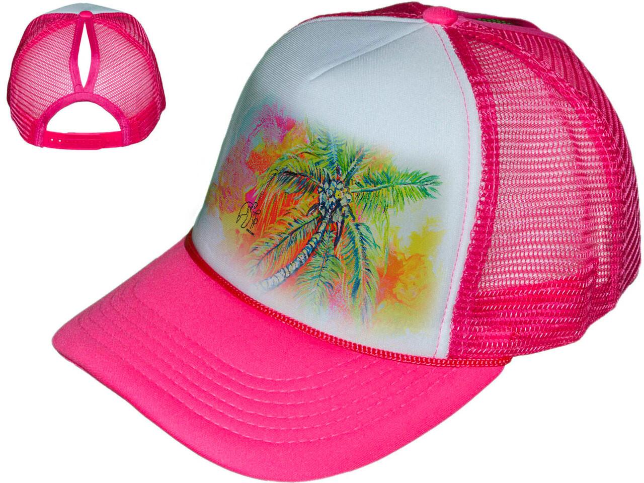 Hot Pink Palm Tree Women's Trucker Hat