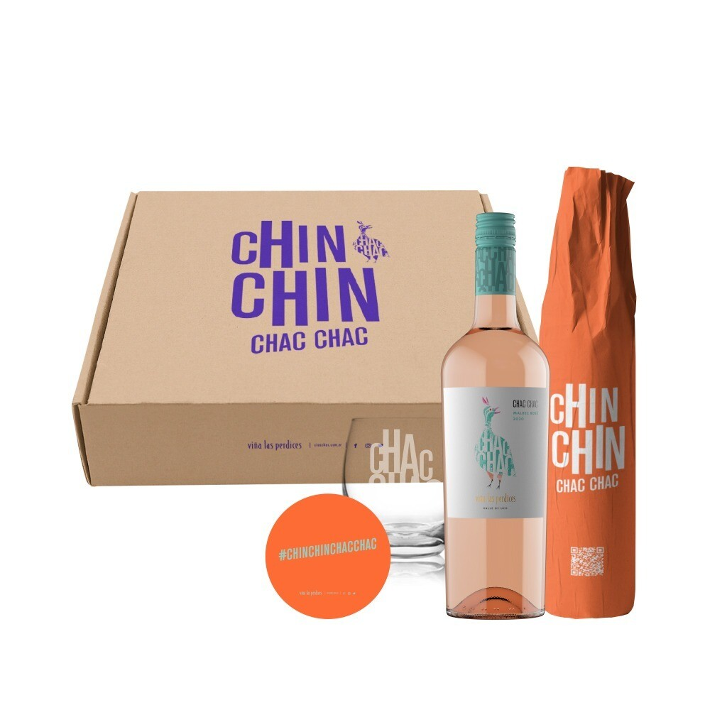 Estuche CHAC CHAC un Vino Malbec Rosé + un Vino tinto Cabernet Franc + un Vaso