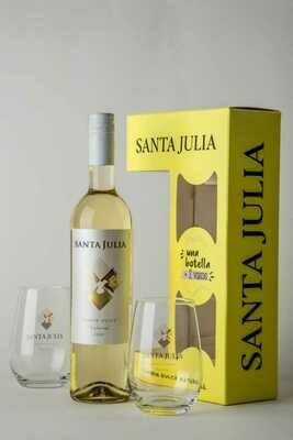 Estuche Santa Julia Chenin Dulce + 2 Vasos x750