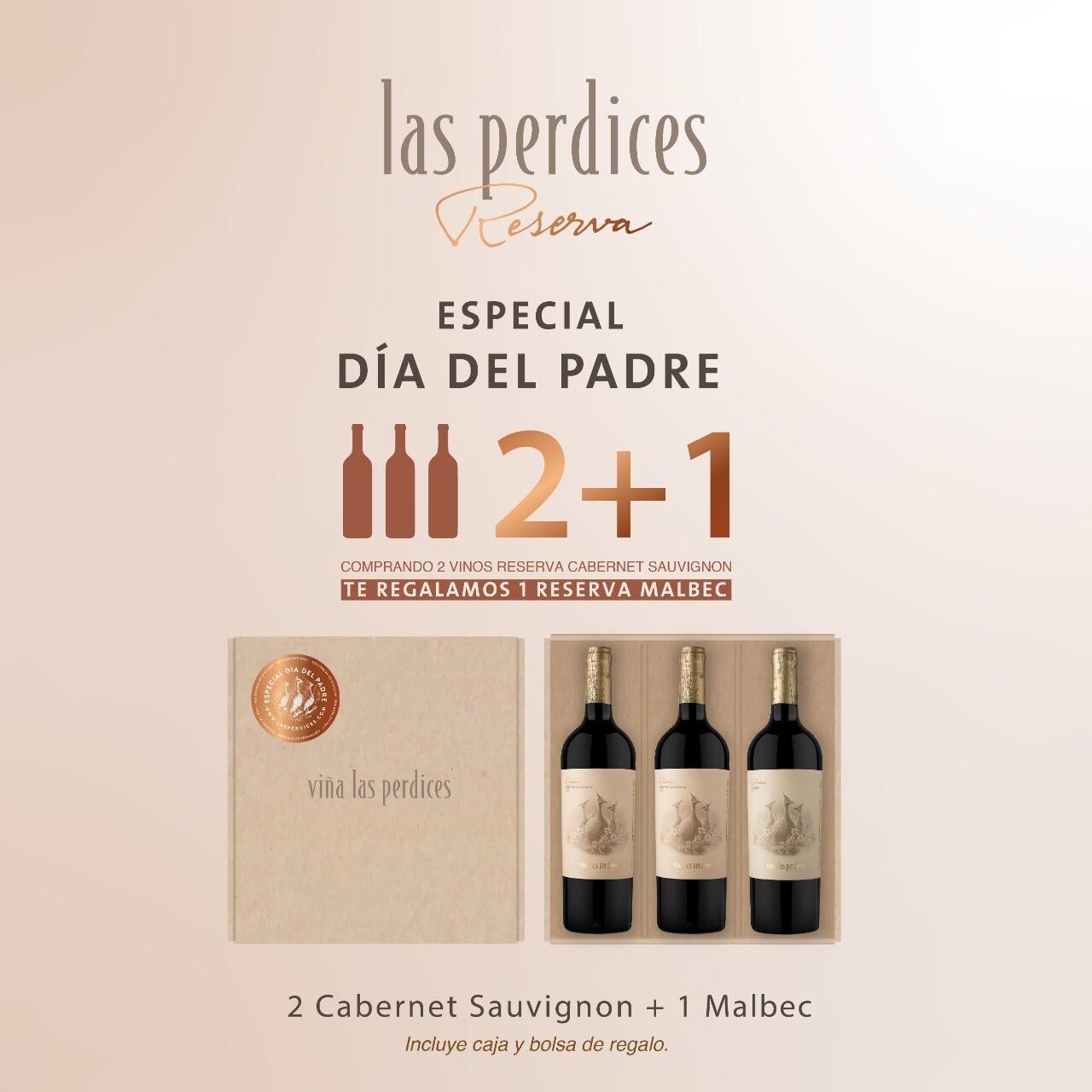 Estuche Reserva Las Perdices Dos Cabernet Sauvignon + Un Malbec