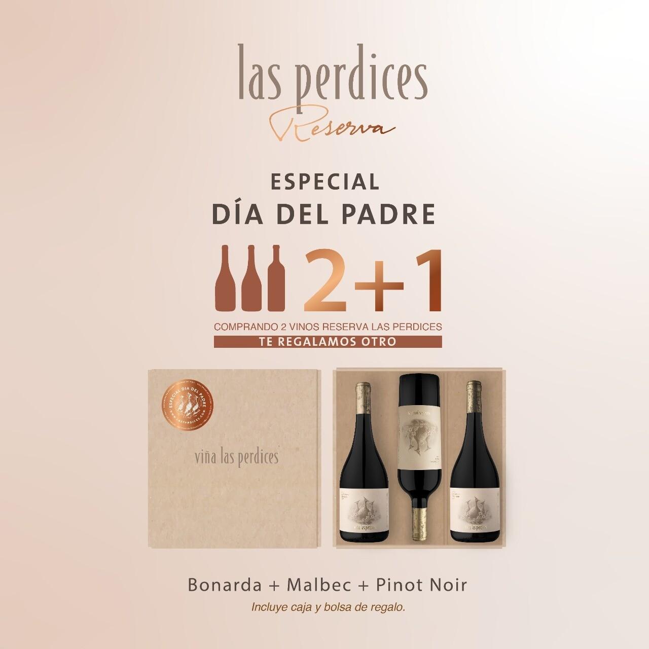 Estuche Reserva Las Perdices Un Malbec + Un Bonarda + Un Pinot Noir