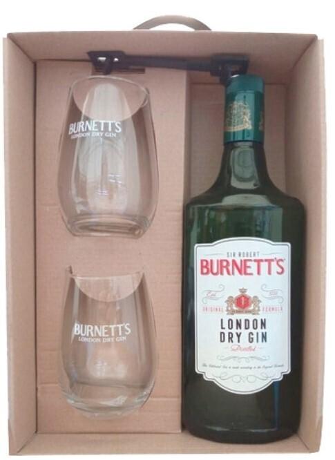 Estuche Gin Burnett's + 2 vasos x1000cc