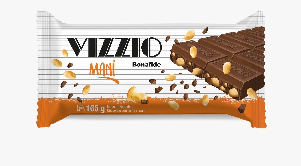 Chocolate Vizzio con leche y maní x165gr
