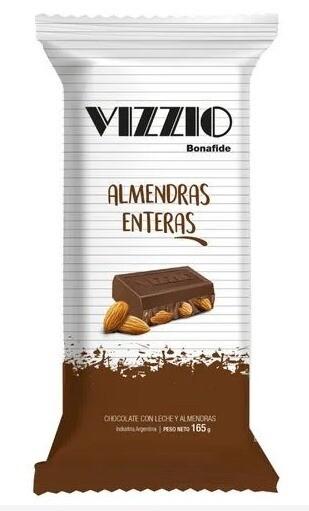 Chocolate Vizzio  con leche y Almendras x165 grs