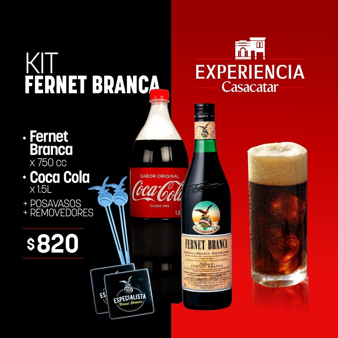 KIT FERNET BRANCA x750cc + COCA COLA X 1.5 LT + POSAVASOS + REMOVEDORES