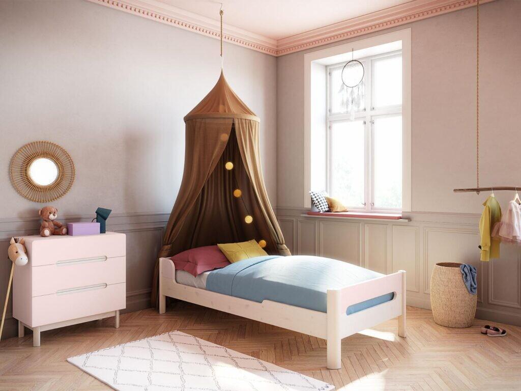 Oniria single bed pink/white