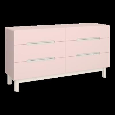 Oniria 6 Drawer chest pink/white