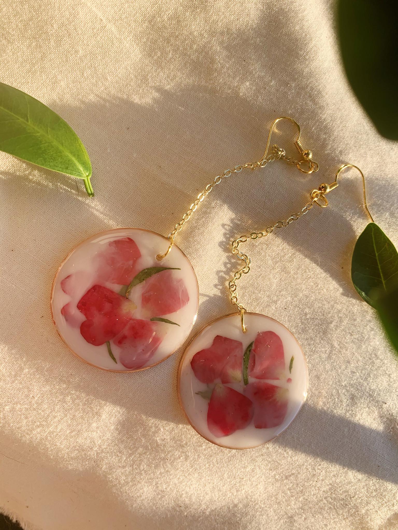 Floral Earrings Matte Milk Bath Resin Earrings