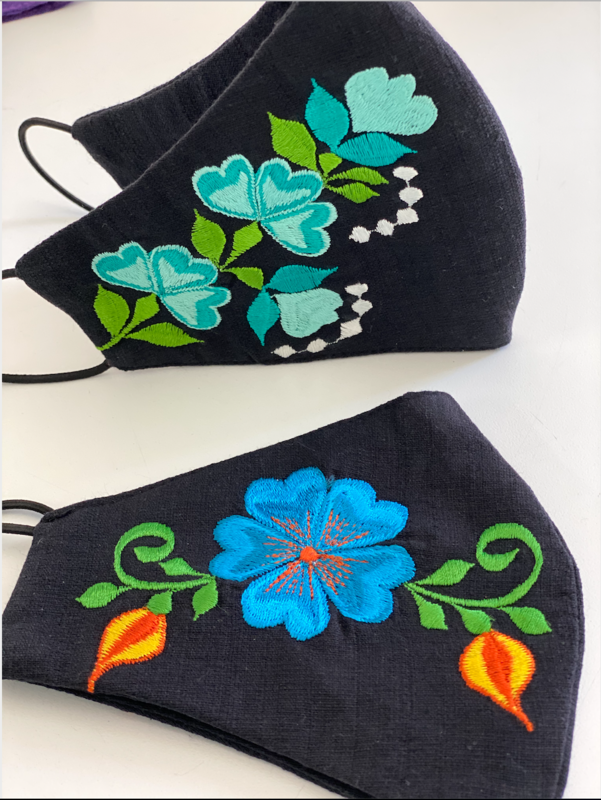 Linen Black w/Flowers Face Masks