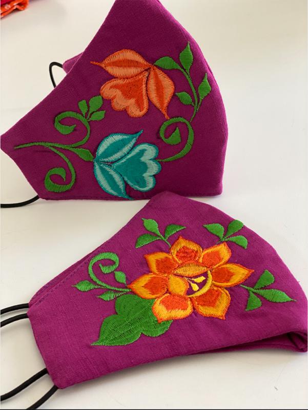 Linen Fuchsia Face Masks