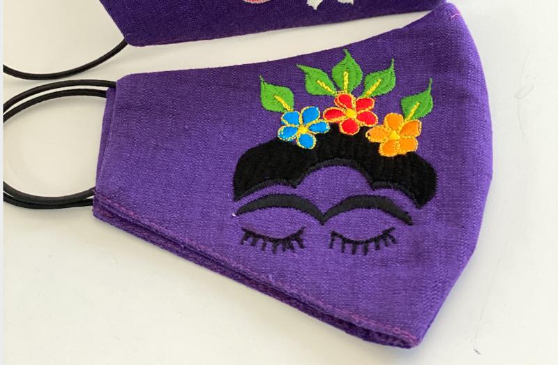 Linen Purple & Orange Face Masks