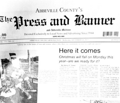 One Year Newspaper Subscription - Abbeville and Surrounding Counties