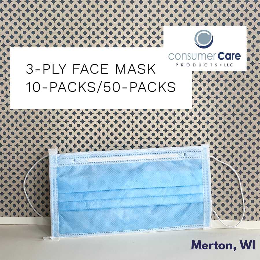 (Pack of 10/Box of 50) 3-Ply Disposable Surgical Mask **IN STOCK**