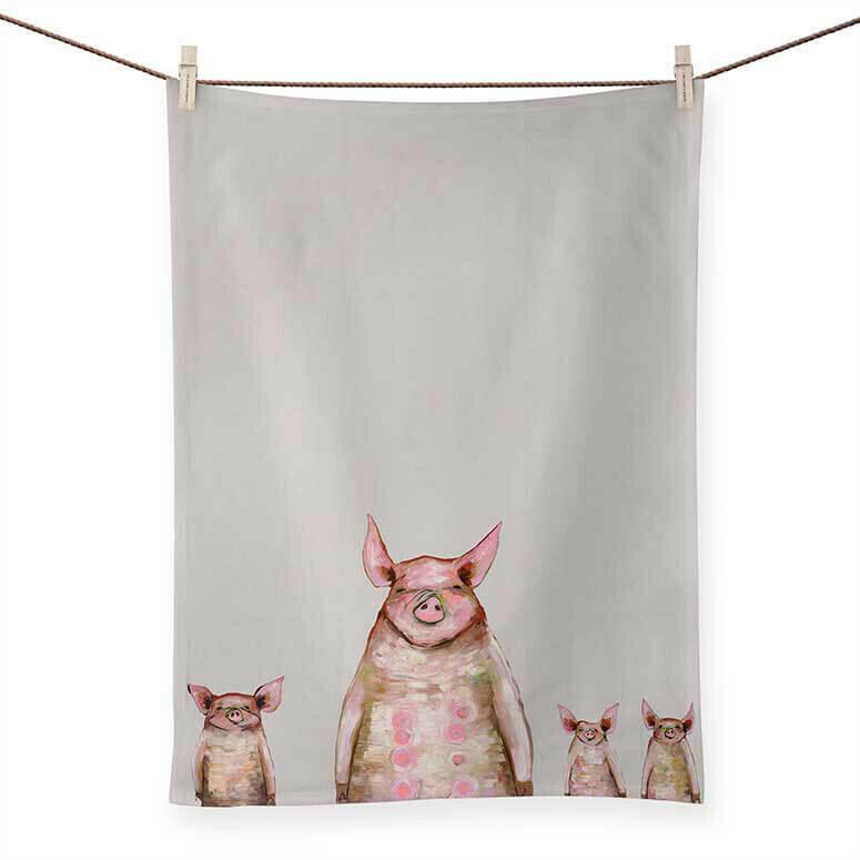 Four Piggies in a Row Tea Towel