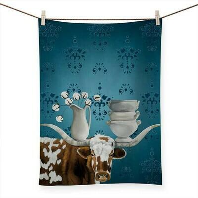 Longhorn and Ironstone Tea Towel