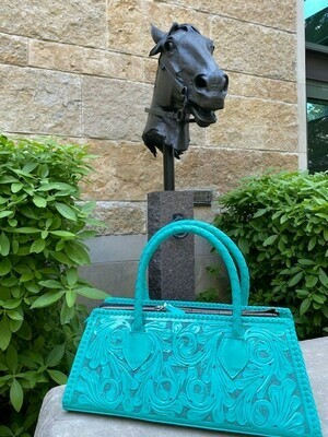 Camila Handbag Hand Tooled Turquoise