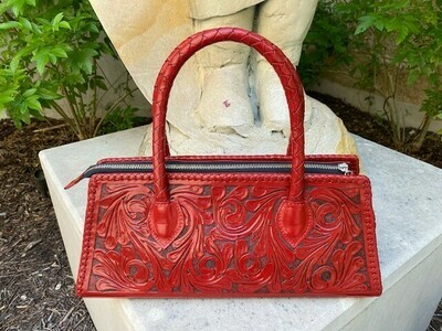 Camila Handbag Hand Tooled Red