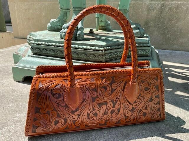 Camila Handbag Hand Tooled Cognac