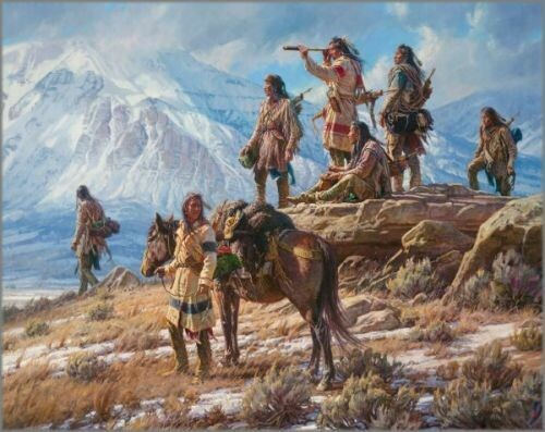 Apsaalooke Foot Soldiers Martin Grelle Framed Giclee on Canvas