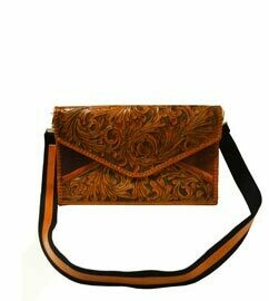 Crossbody Hand Tooled Leather Briefcase Cognac