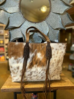 Texas Made Wip Stitch Brown & White Cowhide Leather Tote