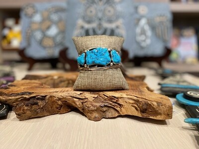 Silver and Turquoise Chunk Bracelet by Jeannette Dale