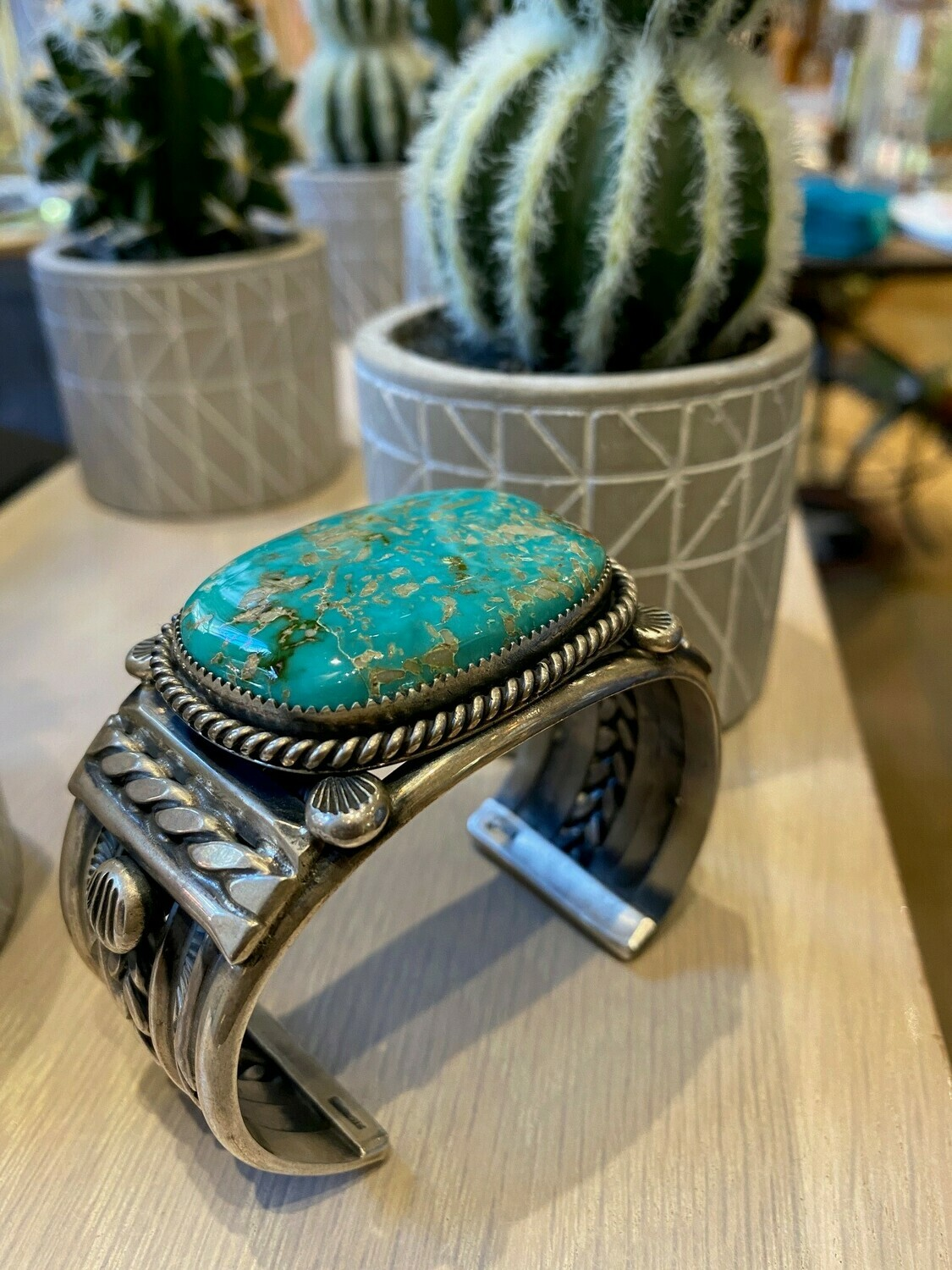 """Silver Turquoise Oval Bracelet 8"""""""
