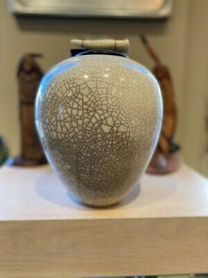 """Raku Large 11"""" Dream Jar White Crackle w/Antler Lid"""