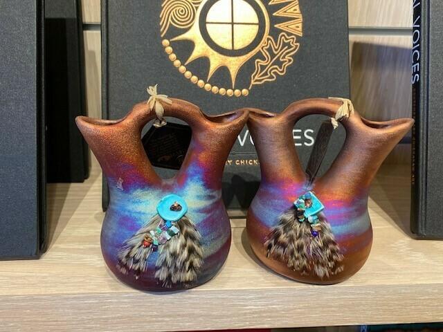 """Raku Wedding Vase w/Feathers and Turquoise Gem Medium 4"""""""
