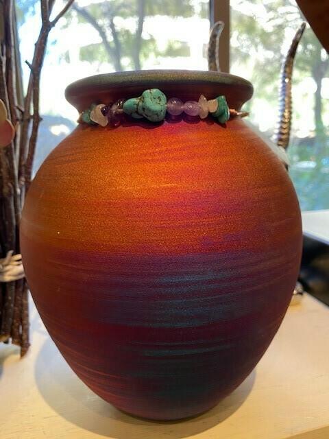 """Raku Large 7"""" Spirit Jar w/Copper and Gemstone Matte"""