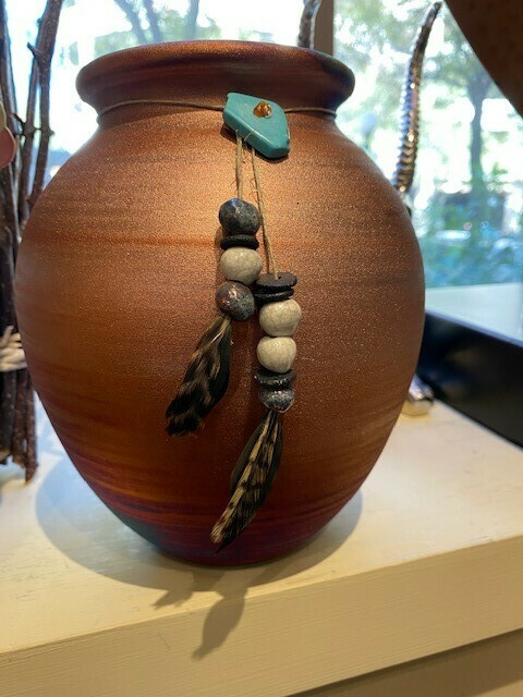 "Raku Spirit Jar 7"" w/Sinew, raku Beads and Feather"
