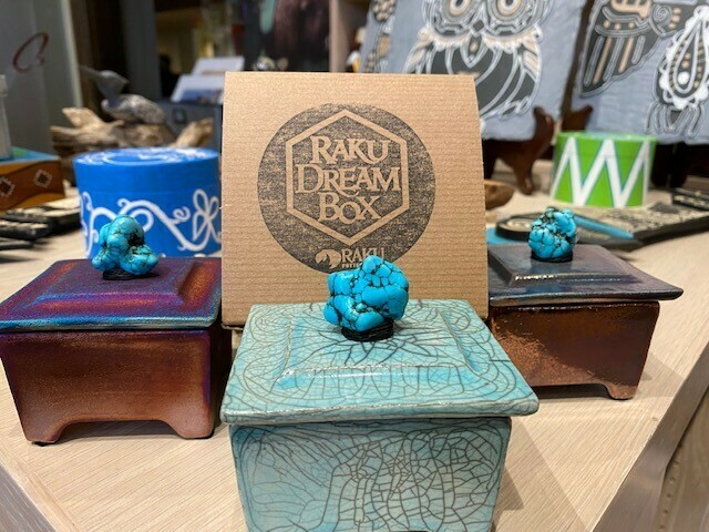 "Raku 3"" Dream Box w/Turquoise Gemstone"