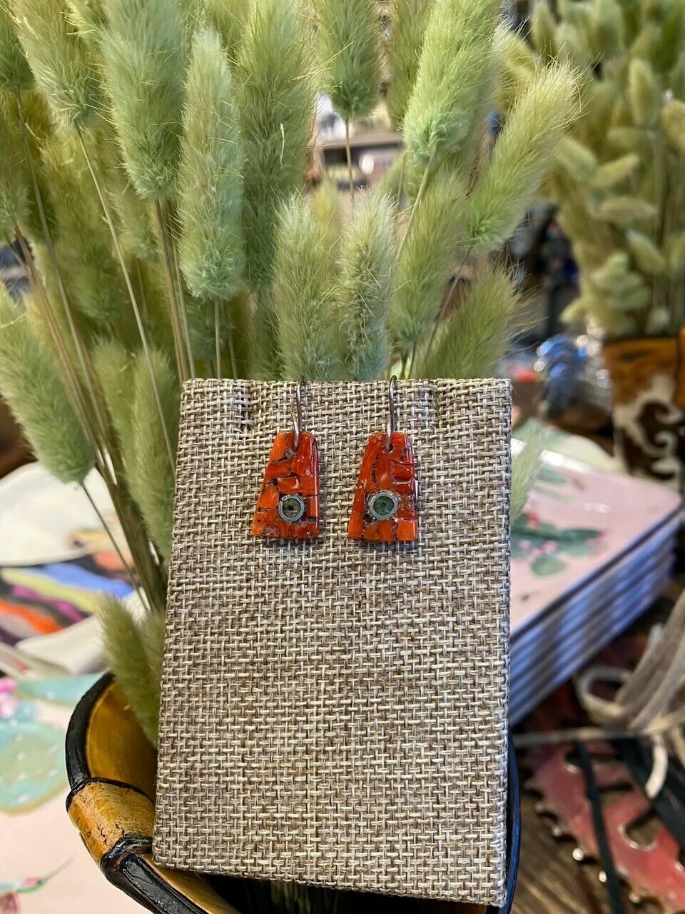 Mary Lovato Small Dangle Inlay Coral and Turquoise Earrings
