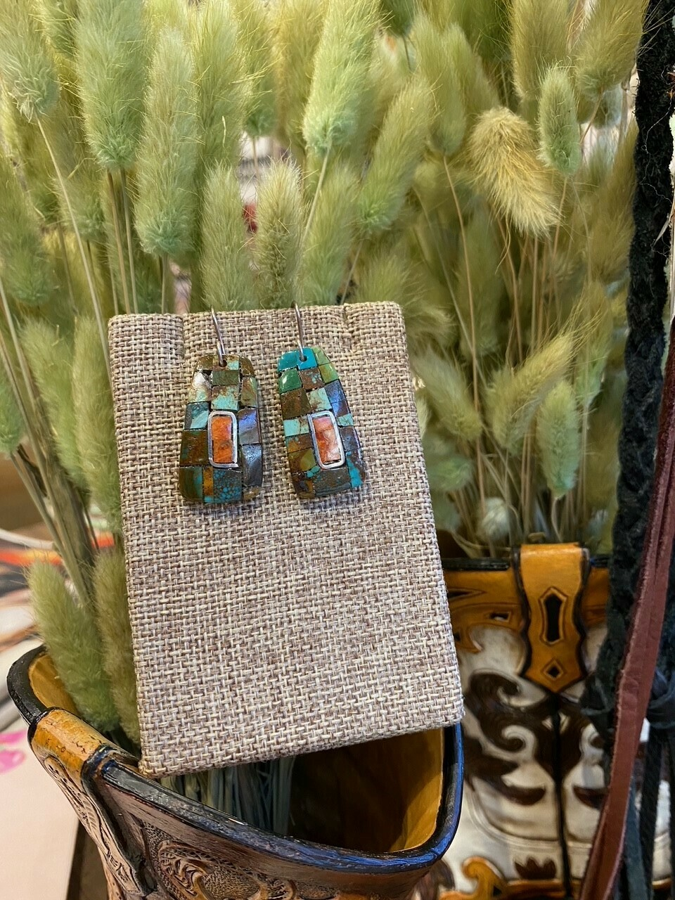 Mary Lovato Medium Inlay Earrings Coral, Silver, and Turquoise