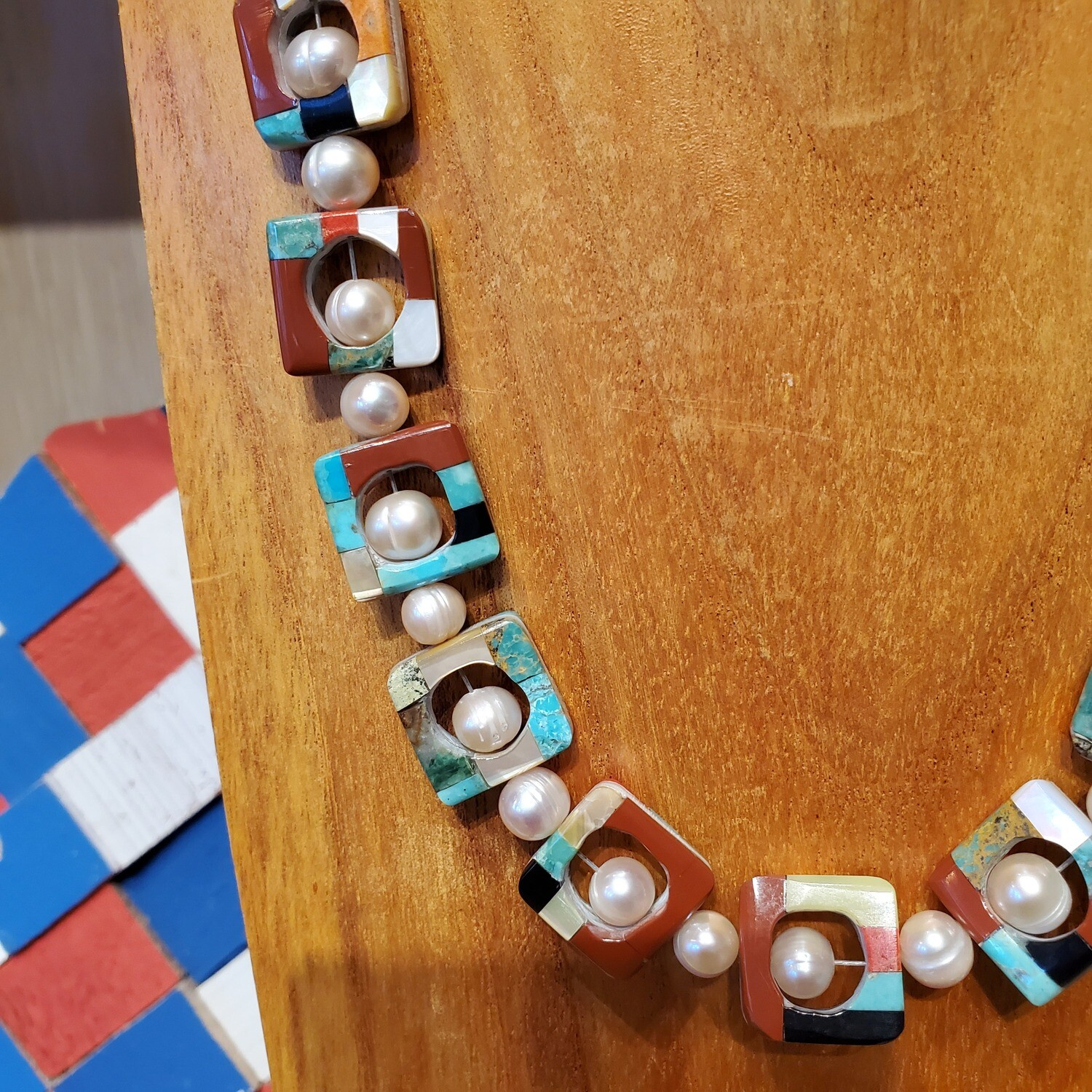 Inlay Square Necklace with Pearls Jolene Bird