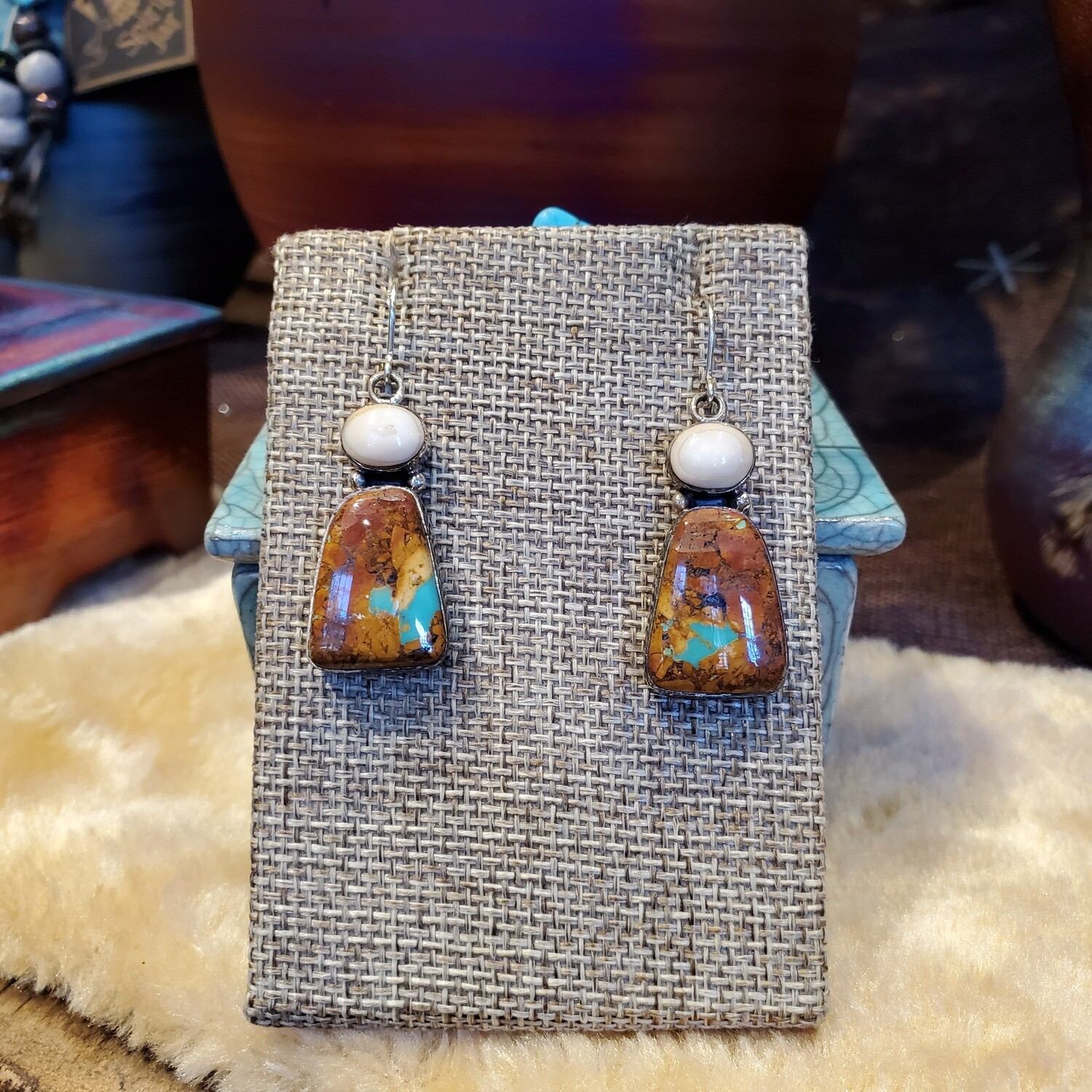 Boulder Turquoise w/Ivory Earrings Rich Brown