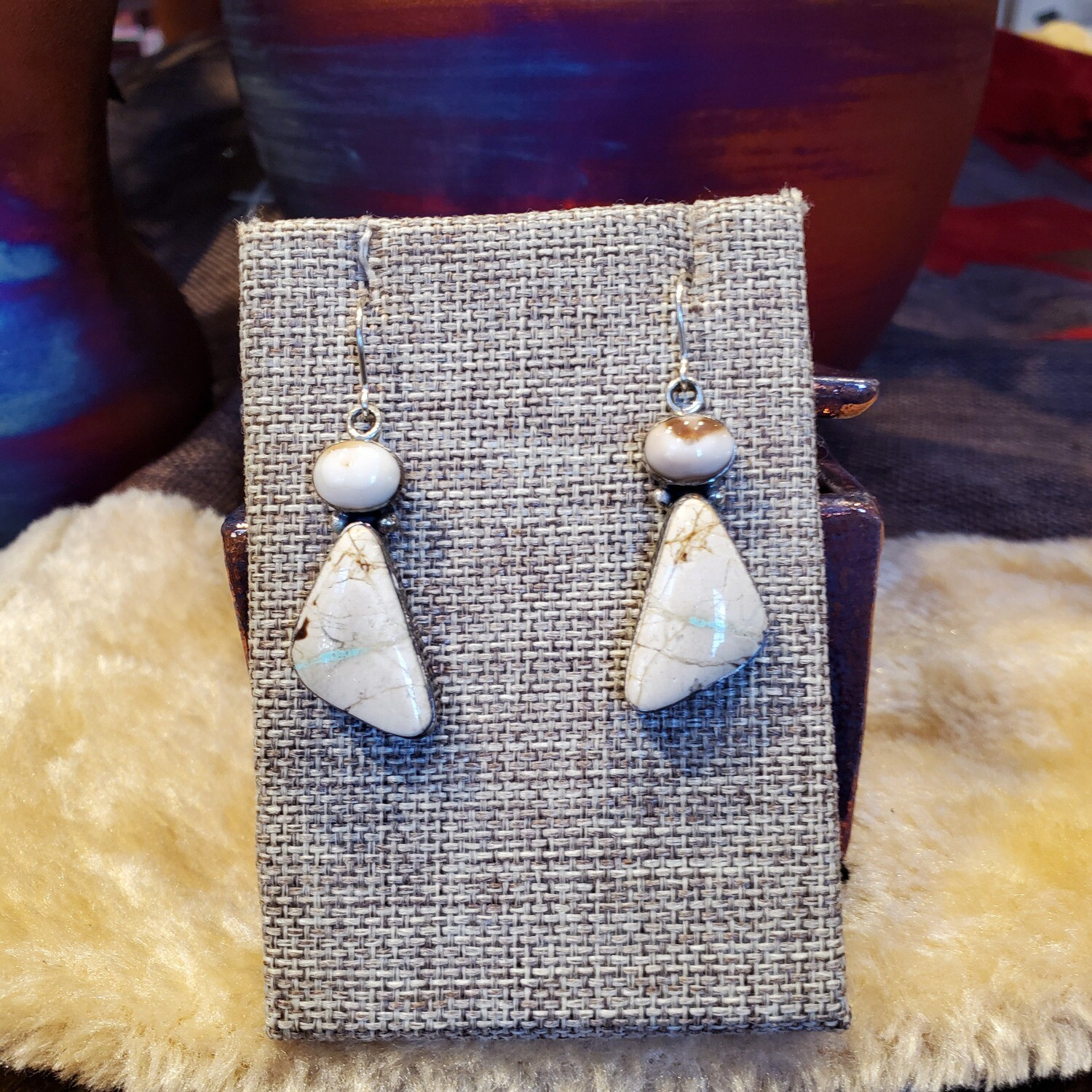 Boulder Turquoise w/Ivory Earrings