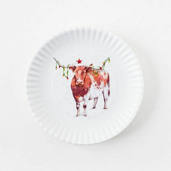 "Christmas Longhorn 9"" Melamine Plate/ Set of 4"