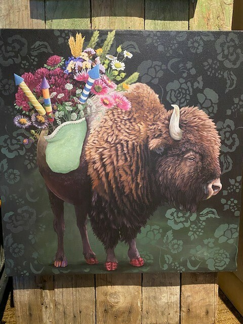 The Celebratory Bison, Canvas Wall Art 21 x 21